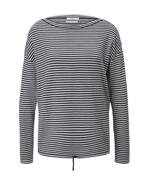 Striped sweater with drawstring by Tom Tailor