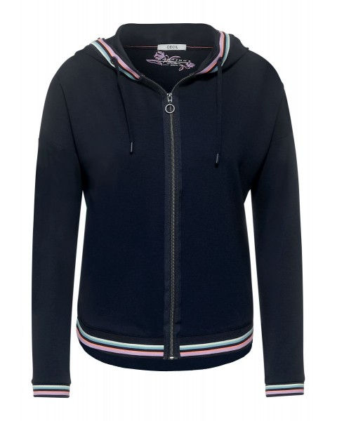 Hoodie T-Shirtjacket Stripe De by Cecil