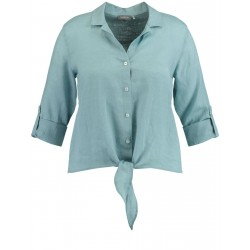 Linen blouse with knotted hemline by Samoon