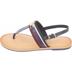 Shimmery monogram flat sandals by Tommy Hilfiger