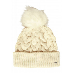 Pompom Cable Knit Cap by Cecil