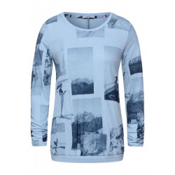 Melange shirt with photo print by Cecil