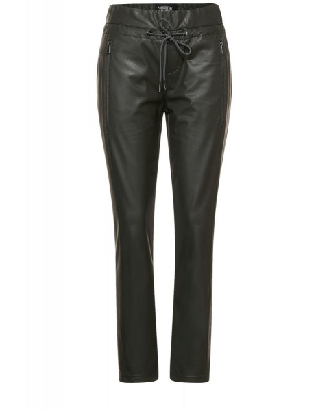 Loose fit pants in leather look by Street One
