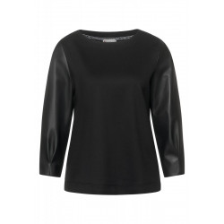 Shirt with leather look sleeves by Street One