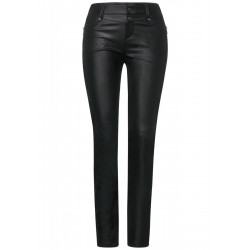 Slim fit pants in leather look by Street One