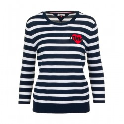 Gestreifter Pullover mit Tommy-Badge by Tommy Jeans