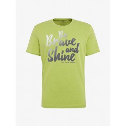 T-Shirt in Melange-Optik mit Print by Tom Tailor